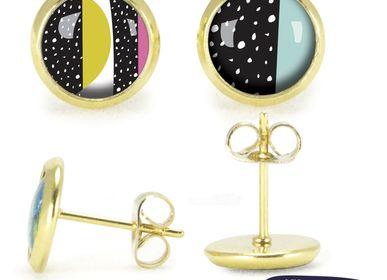 Jewelry - Ears Studs gold Les Parisiennes Happy Day - LES PARISIENNES D'EMILIE FIALA