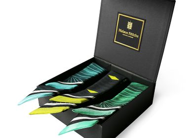 """Scarves - Set of 3 """"Soft Wax"""" knotted fetishes - • Blue Soft Wax  • Yellow Soft Wax • Green Soft Wax - MAISON FÉTICHE"""