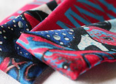 Foulards / écharpes - Fétiche à nouer 100 % twill de soie - bandeau/ruban - La Danse N°2 Pink & Blue - MAISON FÉTICHE