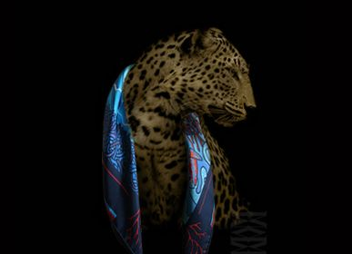 Scarves - PERROQUT FISH 90 - square/scarf printed 100% silk twill - 90 x 90 cm - French rolled - MAISON FÉTICHE