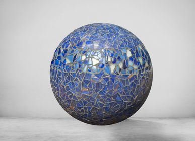 "Table lamps - Lamp ""Dream"" blue and gold - ATELIER DE MOSAIQUE L.TORNO"