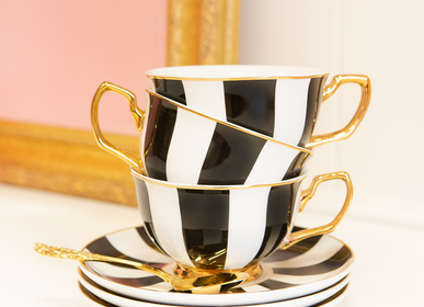 Tea / coffee accessories - Ebony Stripe Teacup & Saucer  - CRISTINA RE