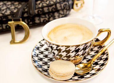 Tea / coffee accessories - Ebony Houndstooth Teacup & Saucer - CRISTINA RE