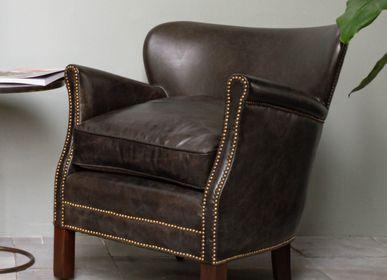 "Armchairs - Leather armstool Turner ""Camden"" - CHEHOMA"