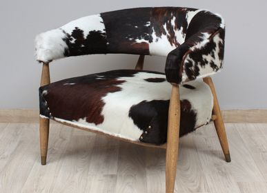 """Armchairs - Armchair """" Les Rocheuses"""" cow and oak - CHEHOMA"""