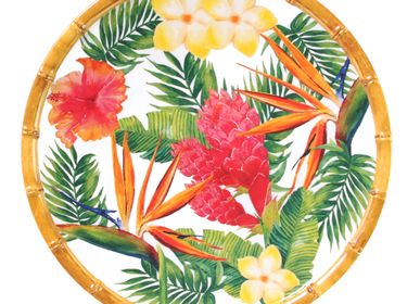 Formal plates - Exotic Flowers Collection in pure melamine - LES JARDINS DE LA COMTESSE