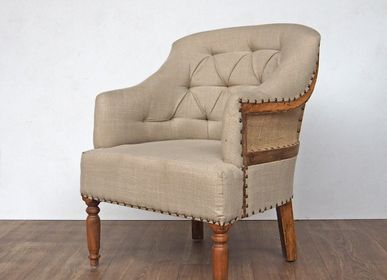 "Armchairs - Armchair jute and linen ""Valbelle"" - CHEHOMA"