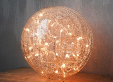 Table lamps - Crackle ball whitre clear w/ garland 25cm - CHEHOMA
