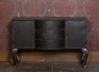 Commodes - Commode baroque 3 tiroirs patine noire. - CHEHOMA