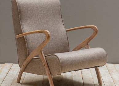 Armchairs - Fauteuil chêne tissu taupe Mozet - CHEHOMA
