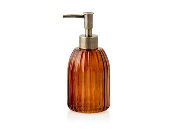 Accessoires à fixer - Distributeur de savon en verre marron à rayures BA70094 - ANDREA HOUSE
