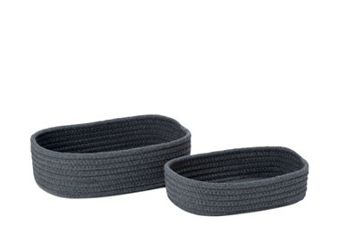 Caskets and boxes - Set of 2 grey polyester and cotton baskets; BA70166 - ANDREA HOUSE