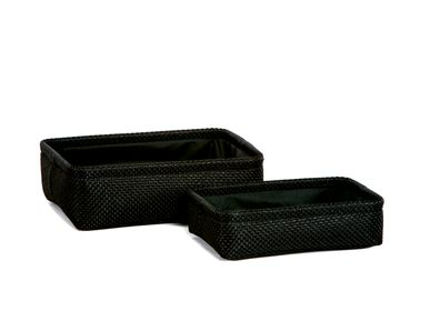 Caskets and boxes - Set of 2 black polyester baskets; BA70168 - ANDREA HOUSE