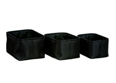 Fixing accessories - Set of 3 black polyester baskets; BA70169 - ANDREA HOUSE