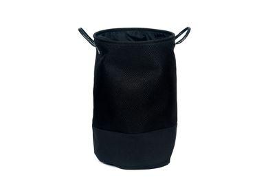 Laundry baskets - Black polyester laundry hamper BA70170 - ANDREA HOUSE