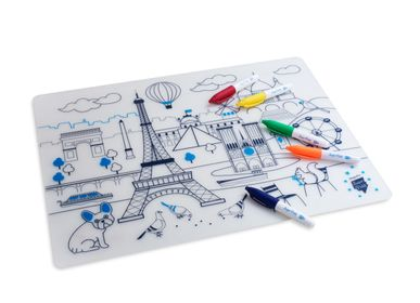 Papeterie - set de table en silicone à colorier avec ses 5 feutres effaçables inclus -PARIS  - SUPERPETIT