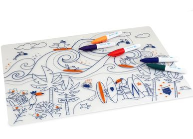 Games - Silicone colouring table mat for kids included 5 markers- Surf - SUPERPETIT