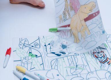Loisirs créatifs - set de table en silicone à colorier avec ses 5 feutres effaçables inclus - Wildlife -Jungle - SUPERPETIT
