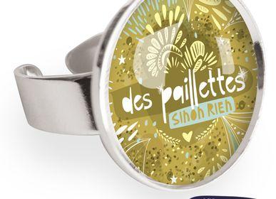 Jewelry - Big ring with all 925 silver finish Les Parisiennes Paillettes - LES PARISIENNES D'EMILIE FIALA