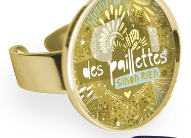 Jewelry - Big ring fully gilded with fine gold Les Parisiennes Paillettes - LES PARISIENNES D'EMILIE FIALA