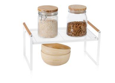 Ustensiles de cuisine - Organisateur de cuisine en métal et bois blanc CC70031 - ANDREA HOUSE