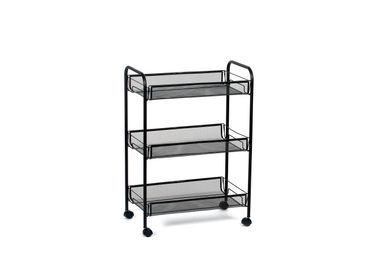 Trolleys - 3 tier shelf black metal storage trolley CC70065 - ANDREA HOUSE