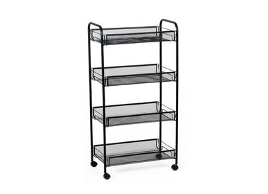 Trolleys - 4 tier shelf black metal storage trolley CC70067 - ANDREA HOUSE