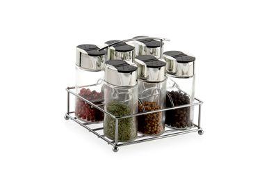 Kitchen utensils - 6 Jar Chrome and Glass Spice Holder CC70095  - ANDREA HOUSE