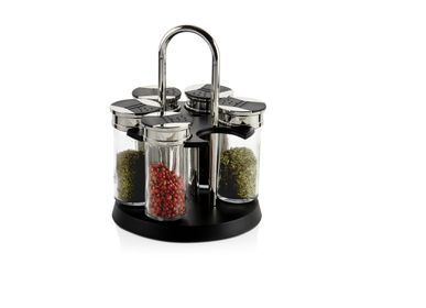 Kitchen utensils - Chrome and Glass Rotating Spice Rack CC70096  - ANDREA HOUSE
