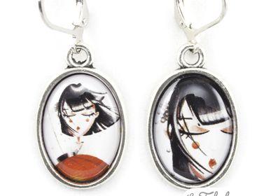 Bijoux - Boucles d'oreilles finition argent 925 Les Fabuleuses d'Emilie FIALA Art for Japan - LES FABULEUSES D'EMILIE FIALA