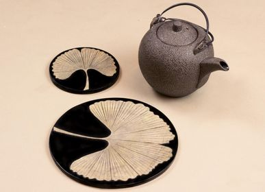 Decorative objects - Trivet and boxes in stone with Ginkgo design - L'INDOCHINEUR PARIS HANOI