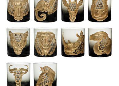 Crystalware - AFRICAN SAFARI GILDED Glass - NEW - ARTEL