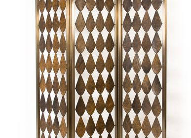 Sculpture - Leather and Brass Fogglia Screen - MYTTO