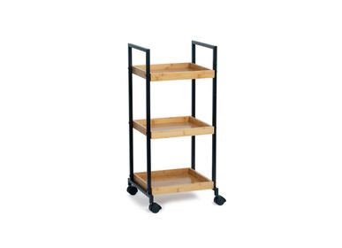 Kitchen utensils - 3 tier shelf black metal/bamboo storage trolley CC70159 - ANDREA HOUSE
