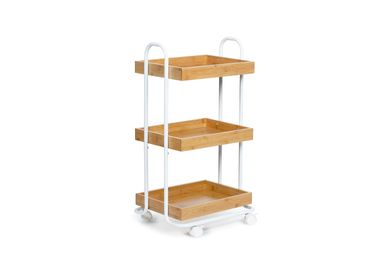Trolleys - 3 tier shelf white metal/bamboo storage trolley CC70160 - ANDREA HOUSE