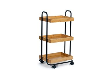 Trolleys - 3 tier shelf black metal/bamboo storage trolley CC70161 - ANDREA HOUSE