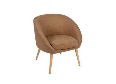 Armchairs - Gaia brown fabril armchair MU70017 - ANDREA HOUSE