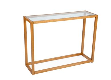 Console table - Oak wood and glass console MU70189 - ANDREA HOUSE