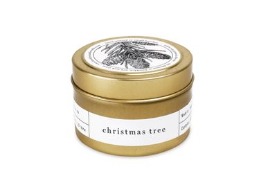 Installation accessories - Christmas Tree Gold Travel Candle - BROOKLYN CANDLE STUDIO