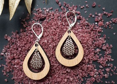 Jewelry - Earring and necklace AMANDE with wood and leather - NI UNE NI DEUX BIJOUX