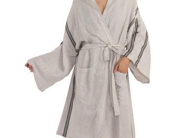 Homewear - KIMONO DRESSING GOWN BATHROBE TURKISH COTTON-LINEN HONEYCOMB HANDLOOM - LALAY