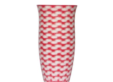 Bol - White on Red River Flower Vase Medium - SYNCHROPAINT