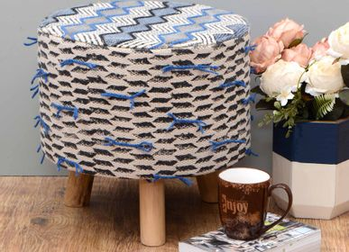Footrests - Hand crafted embroidery fabric upholstered wooden pole leg stool - NATURAL FIBRES