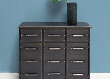 "Chests of drawers - Metal chest ""Lupin"" 3 drawers and 3 doors - CHEHOMA"