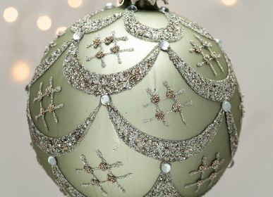 Christmas decoration - Green & silver 12cm Bolchoï xmas ball - CHEHOMA