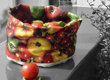Platter and bowls - Fabric baskets printed Tomatoes - MARON BOUILLIE