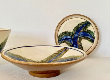 "Pottery - Tounis cup, bowl and salad bowl ""Palm tree"" - TAKECAIRE"