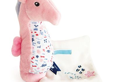 Soft toy - SEAHORSE with doudou - pink - DOUDOU ET COMPAGNIE