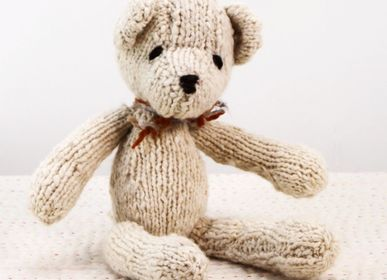 Soft toy - Small teddy  Ditsy - Sustainable soft toys, hand knitted and fair trade  - KENANA KNITTERS