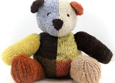 Soft toy - Harlequin bear -  Sustainable, handmade, fairtrade soft toy - KENANA KNITTERS